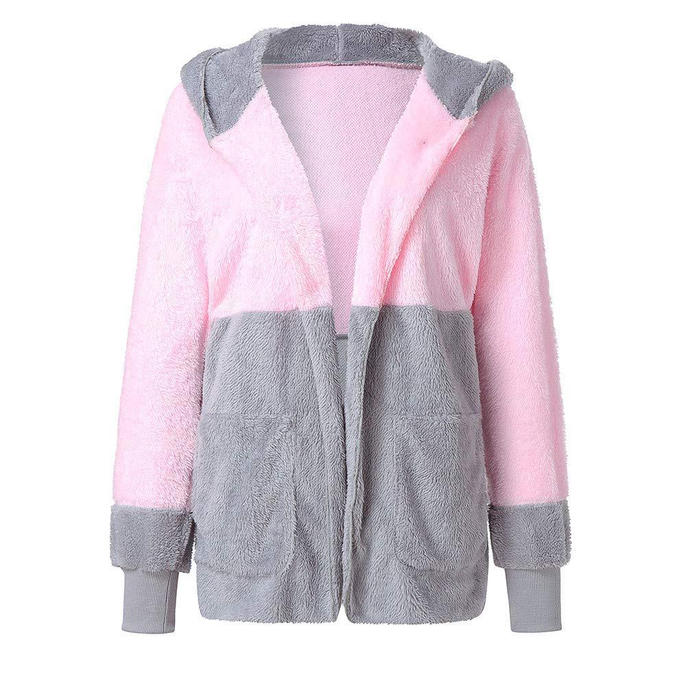 DEATU Womens Fashion Splicing Oversized Jackets Cardigan Coat Open Front Hooded Draped Outwear Pockets