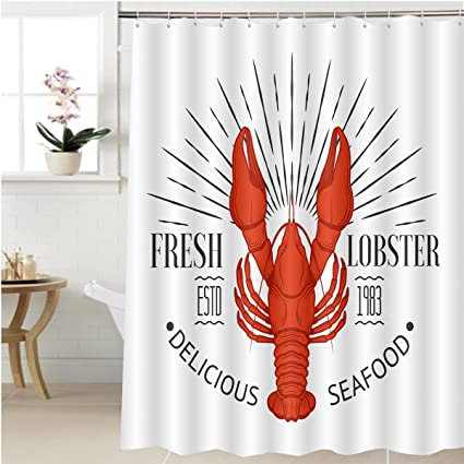 Gzhihine Shower Curtain Seafood Vintage Label With Lobster For Your Restaurant Bar Pub And Cafe Design