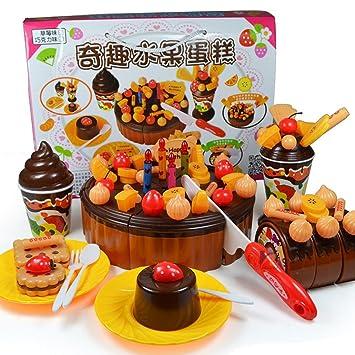 73 pcs papel juego juguete juguetes de cocina rosa tarta de ...