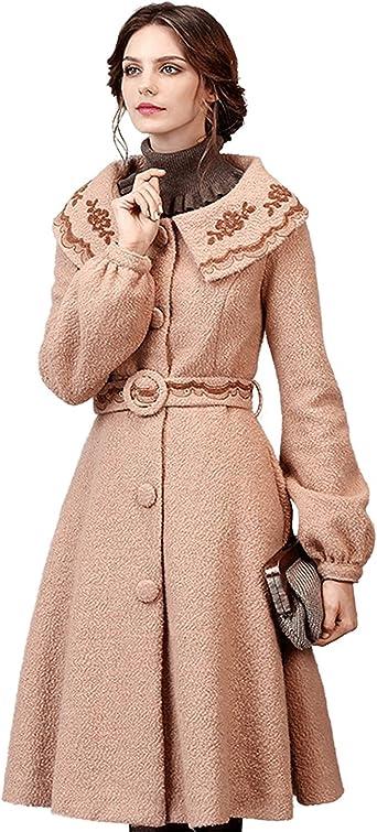 Womens Vintage Thicken Wool Blend Lapel Belt Trench Outwear Slim Overcoats lady