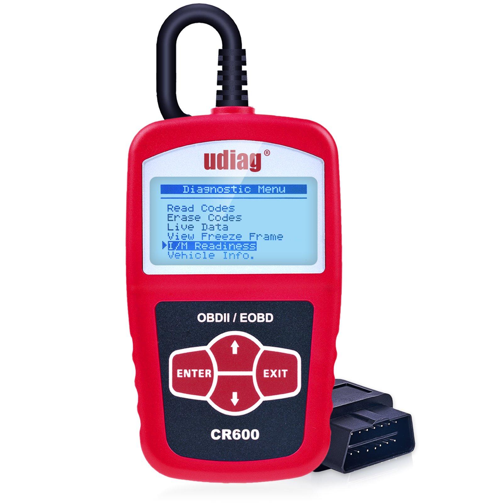 udiag OBD2 Scanner OBD Car Diagnostic Tool Obdii Scanners CR600 Universal Cars Code Reader Scan Directly Check Engine Light MIL Error Meaning Read Erase Fault Codes Identify Vehicle I/M VIN CID CVN