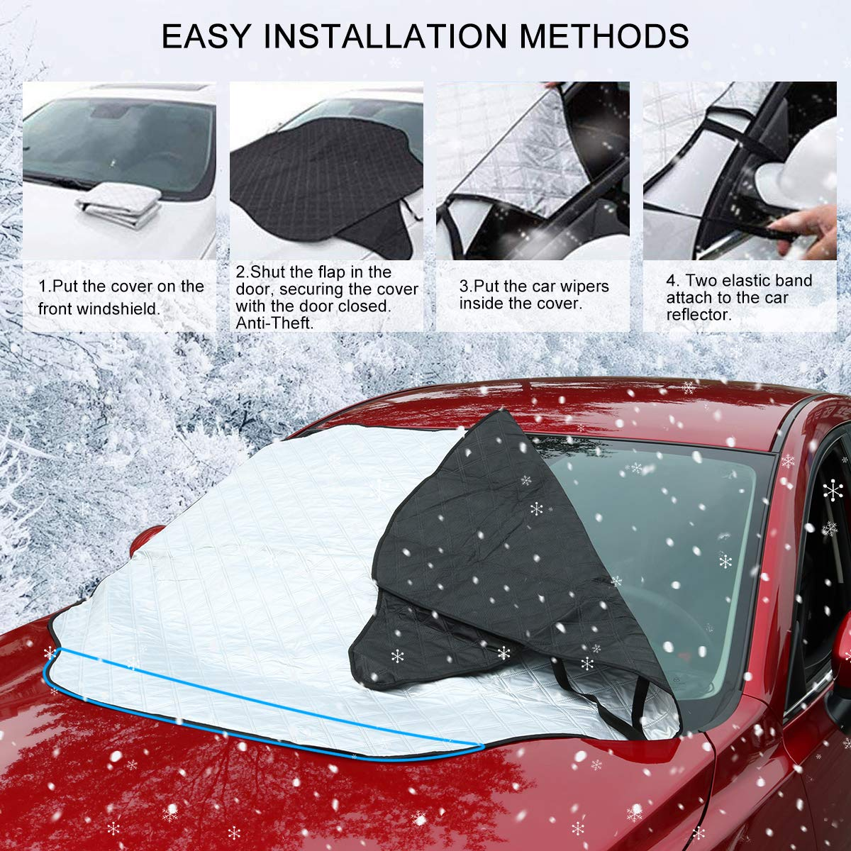 GAMURRY Windshield Cover Windshield Snow Ice Frost Guard Cover for Most Cars and SUVs with Magnetic Windshield Cover for Ice and Snow