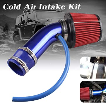 "Universal 76mm 3/"" Car Cold Air Intake Induction Pipe Kit Filter Tube System Blue"