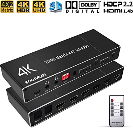 HDMI 2.0b 3D HDMI Matrix Switch 4x2 4K@60Hz 4K HDMI Matrix Switcher Splitter 4 In 2 Out Box with EDID Extractor and IR Remote Control Support 4K HDR HDCP 2.2 1080P