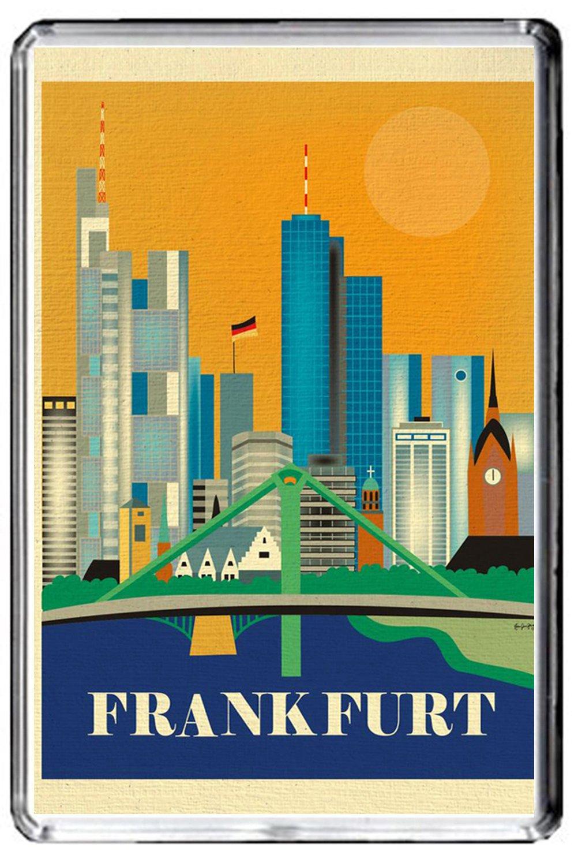 F263 Frankfurt imán para nevera Vintage de Alemania viaje foto ...