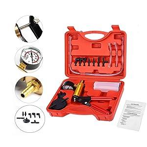 Podoy Brake Bleeder Kit Vacuum Pump Handheld 2 in 1 Test Set Tuner kit for Automotive Tuner Tools Adapters Case