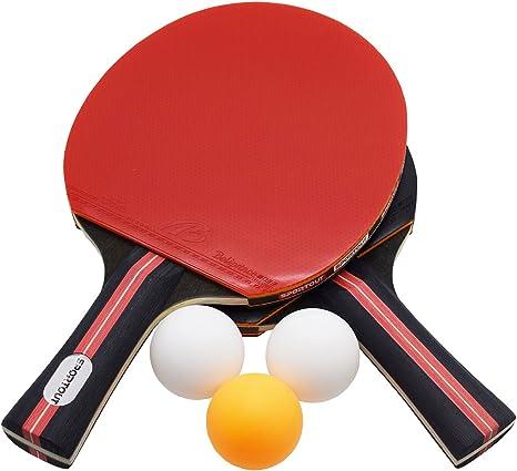 Sportout Juego de pala de tenis de mesa, pingpong con 2 bates y 3 ...