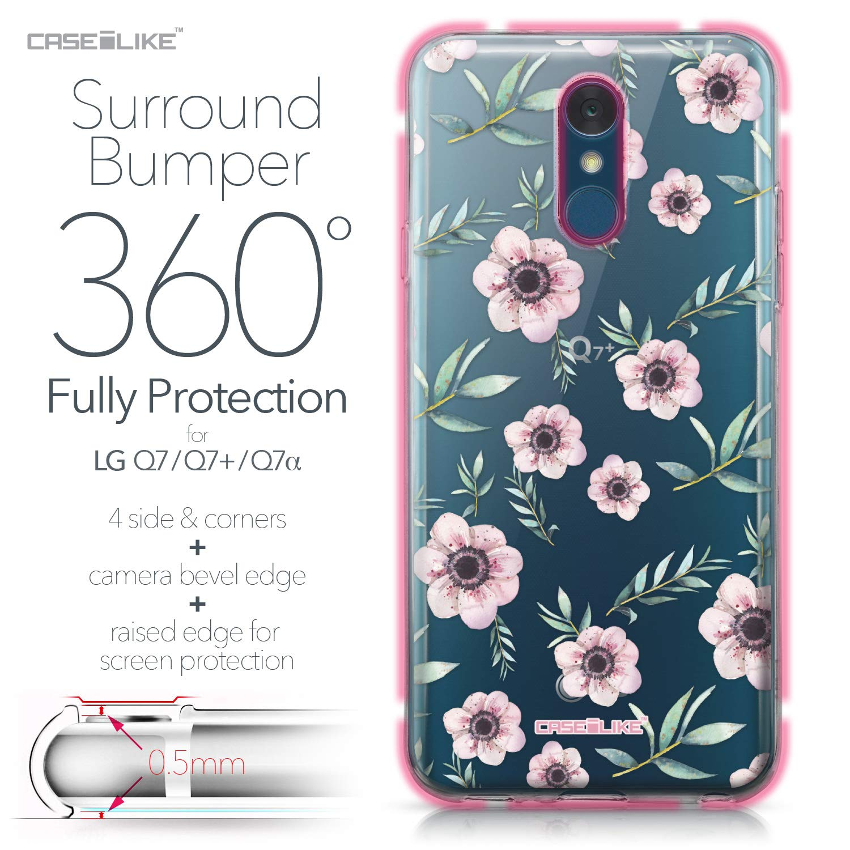 CASEiLIKE® Funda LG Q7, Carcasa LG Q7, Floral Bohemio 2270, TPU Gel Silicone Protectora Cover