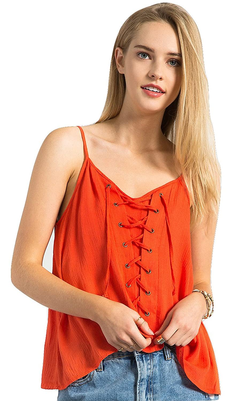 Sans Souci Lace Up Cami Top (Orange)