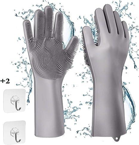 Imagen deGuantes para lavar platos, guantes de silicona reutilizables, resistentes al calor e impermeables, ideal para lavar platos, cocinas, baños, cuidado del cabello de las mascotas y más