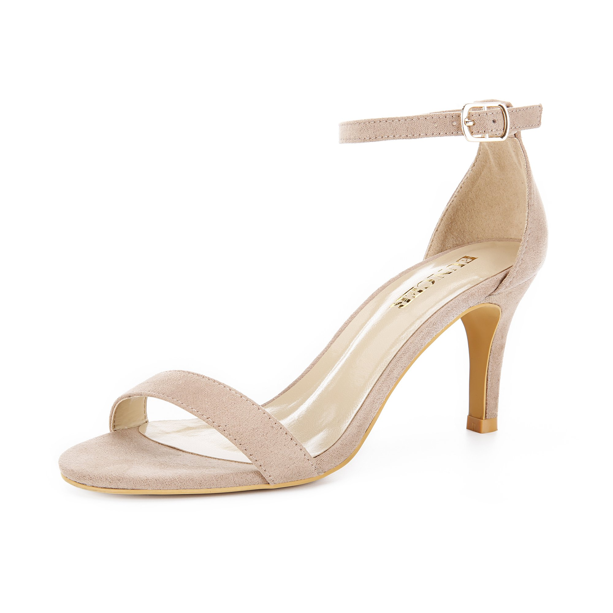 Eunicer Women's Open Toe Ankle Strap High Heel Stiletto Sandals Party Dress Shoes,Nude Suede,9.5 B(M) US