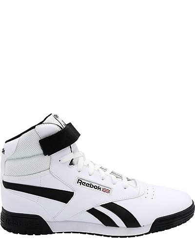 6e9714f43697 Reebok Men s Ex O Fit Clean Hi Top Sneaker White Black 13 D(M) US ...