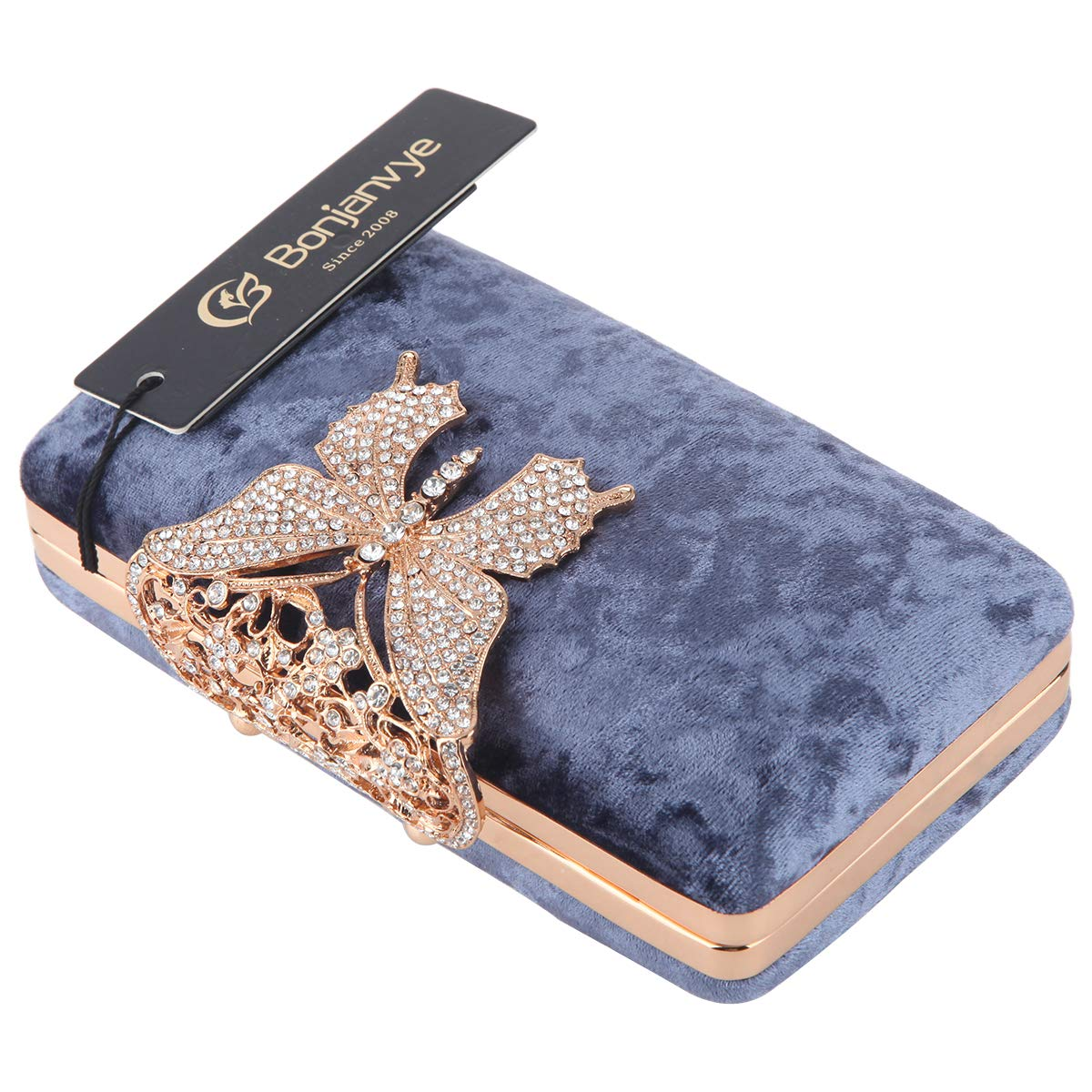 Bonjanvye Clutch Purses for Women and Clutches Double Pearl Bright Leather Evening Bags Grey