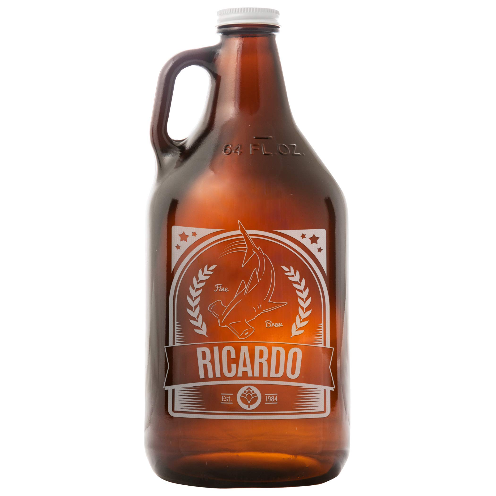 Everything Etched Personalized 64 Oz Amber Beer Growler | Custom Engraved Gift Idea For Beer Lovers - Customize with Your Name & Message