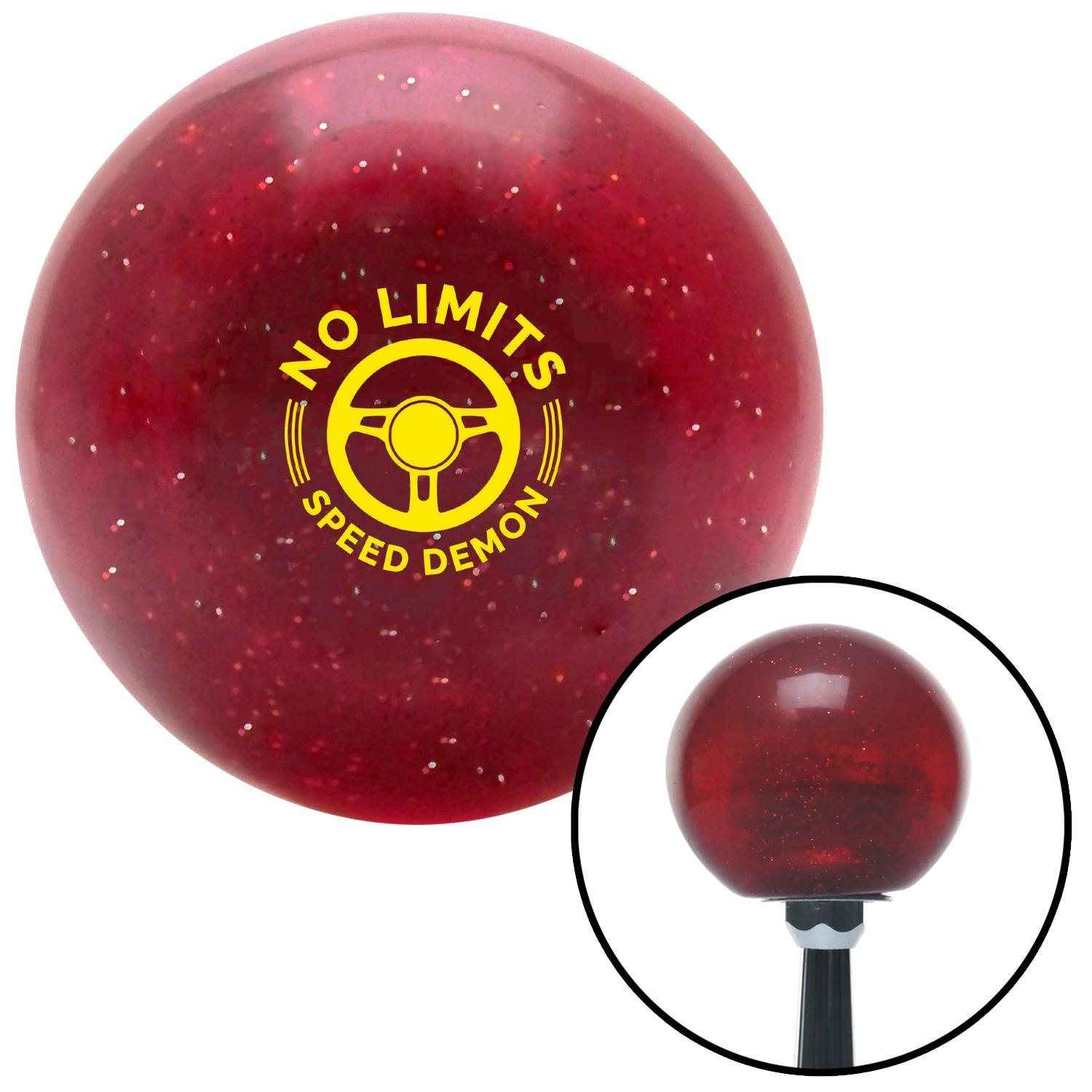 American Shifter 283030 Shift Knob Company Yellow No Limits Red Metal Flake with M16 x 1.5 Insert