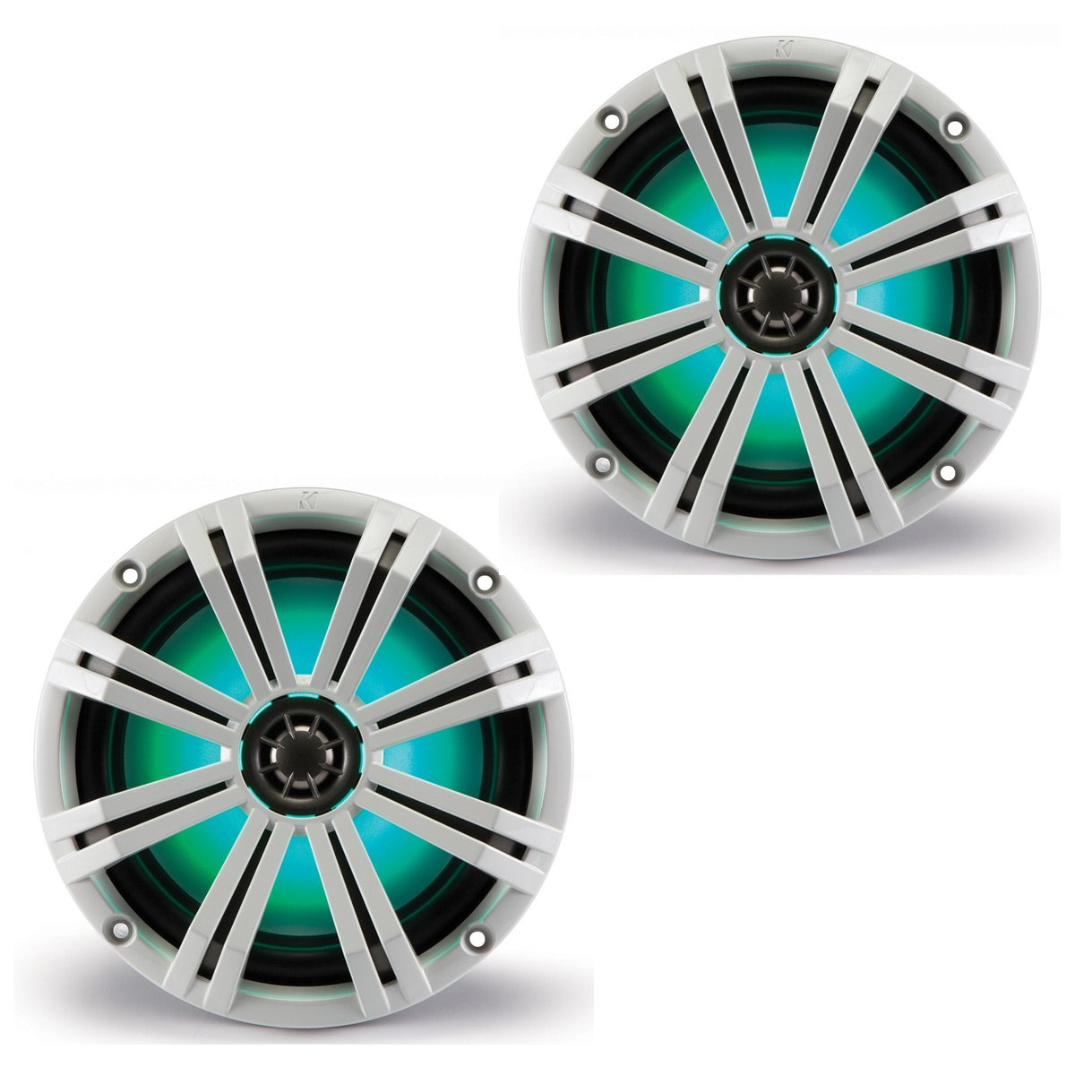 KM8 8-INCH (160mm) Marine Coaxial Speakerswith 1'' tweeters,LED Charcoal and White Grilles,4-OHM