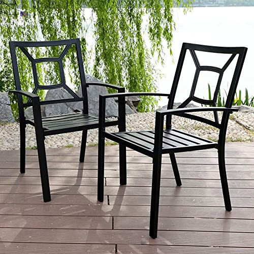 PHI VILLA Patio Dining Chair Metal Arm Chair