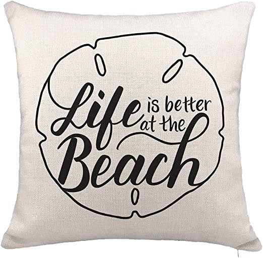 YOENYY Life is Better at The Beach Inspirational Quote Throw Pillow Cover Cushion Case for Sofa Couch Summer Holiday Home Decor Cotton Linen 18 x 18 Inch