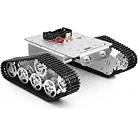 Smart Car Platform Tracked Robot Metal Aluminium Alloy Tank Chassis with Powerful Dual DC 9V Motor for Arduino Raspberry Pi DIY STEM Education, Easy Assembly (11.0x9.8x4.5inch, 3Lb)