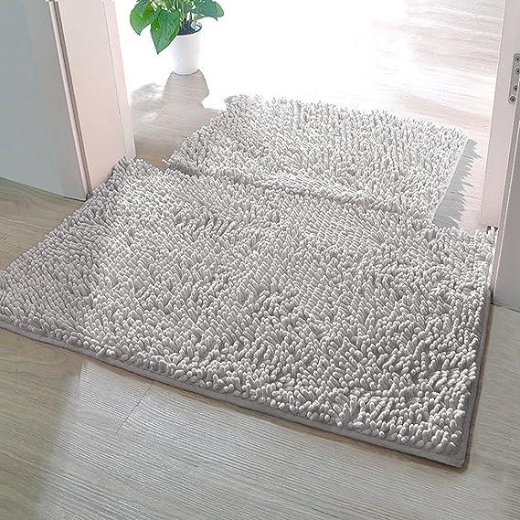 Alfombrillas de baño KZKR antideslizante microfibra absorbente suave alfombra de ducha lavable a Máquina 40*60cm Gray ideal para sala de ...