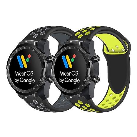 Ceston Deporte Silicona Clásico Correas para Smartwatch TicWatch Pro (Negro + Gris & Negro + Amarillo)