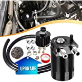 "Vincos Universal 3/8""&9/16"" 400ml Aluminum Oil Catch Can Dual Cylinder Polish Baffled Engine Air Oil Separator Tank Reservoir Kit with Breather Black Small Drain & High Pressure Hose Line Tube"