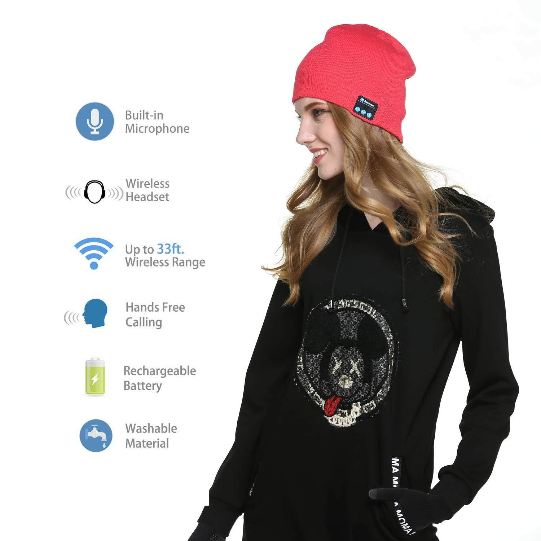 Inverno Caldo Lavorato a Maglia Senza Fili Bluetooth Cuffia Musica Cappello per Corsa Sci Escursionismo Regalo di Natale TAGVO Bluetooth V5.0 Beanie con Guanti Touchscreen Set