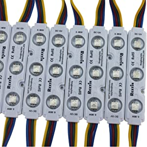 Rextin 200pcs 12V 5050 SMD 3 LED Module RGB Color Changing Waterproof Light Lamp for Home Garden Xmas Wedding Party Decoration Letter Design (RGB Injection)