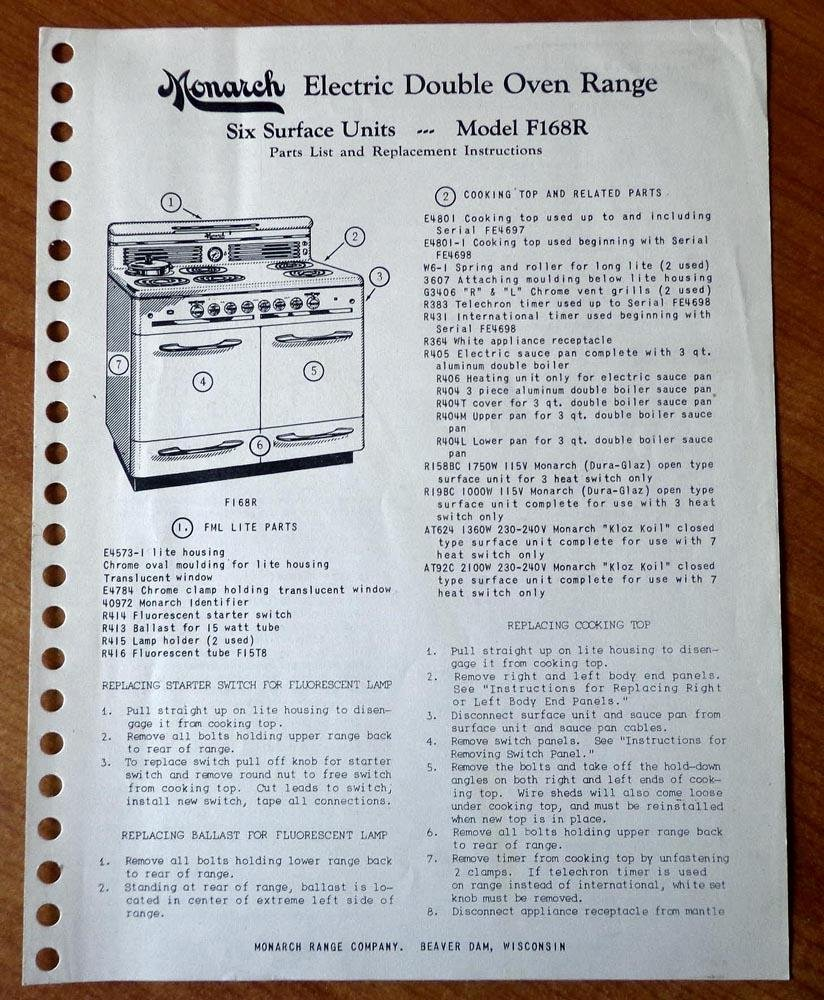 monarch electric double oven range, six surface units model f168r parts  list, replacement instructions, and schematic wiring diagram (monarch range  company,