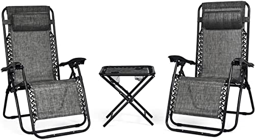 Giantex 3 PCS Zero Gravity Chair Patio Chaise Lounge Chairs Outdoor Yard Pool Recliner Folding Lounge Table Chair Set Gray