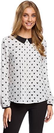 oodji Ultra Mujer Blusa de Tejido Fluido con Cuello en Contraste: Amazon.es: Ropa y accesorios