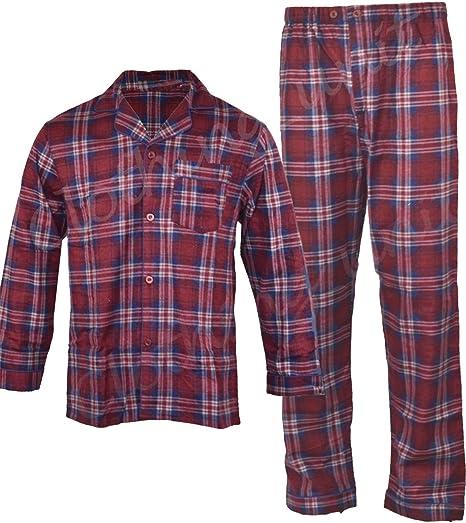 New Mens Traditional Flannel Cotton Pyjamas Set Sleeping Night Gift PJ Blue