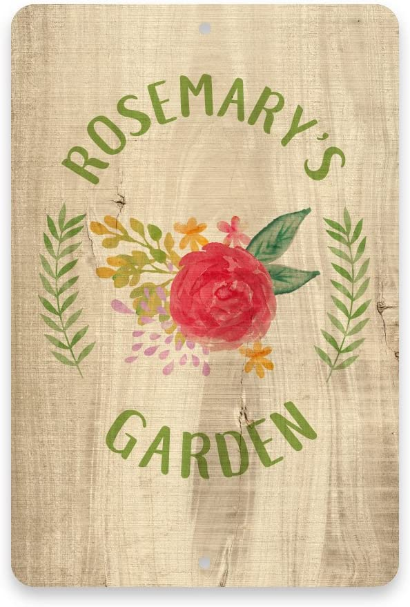 Personalized Rustic Wood Watercolor Flower Garden Metal Room Sign