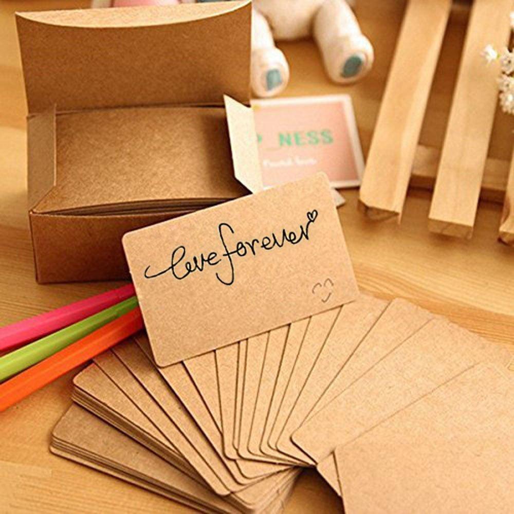 Amazon.com : Fecedy 100pcs Blank Kraft paper Business Cards Word ...