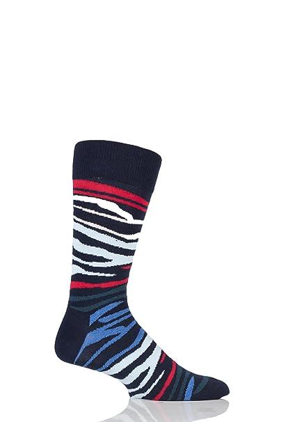 Calcetines De Happy Socks Multi Cebra Hombres, Azul De Marina De Guerra Un Tamaño: Amazon.es: Ropa y accesorios