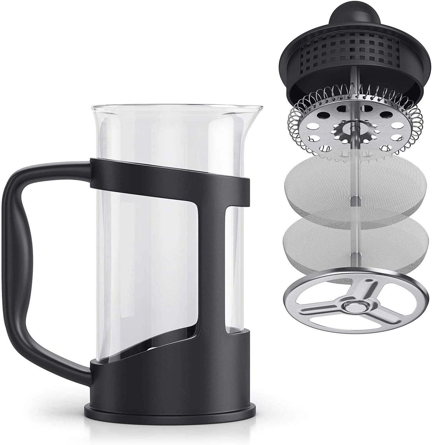 Negro cafetera de Sabor m/áximo con Filtro de Acero Inoxidable 350 ml RAINBEAN cafetera de Prensa Francesa Gran Tetera de Calidad caf/é de la ma/ñana