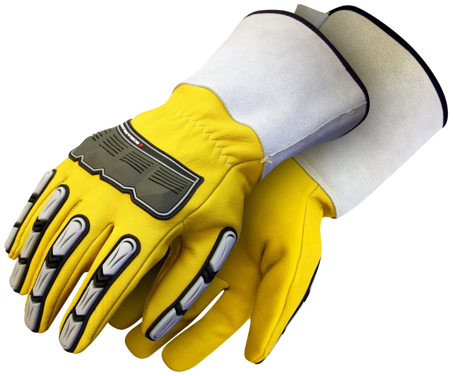 BDG 20-1-10696-L Leather Back Hand Impact Glove with Cuff, Large