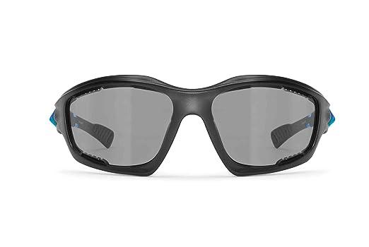BERTONI Gafas de Sol Deportivas Polarizadas Fotocromáticas para Deporte Ciclismo MTB Pesca Esqui Golf Running Kitesurf - P1000FT Italy (Negro Mate - Azul): ...