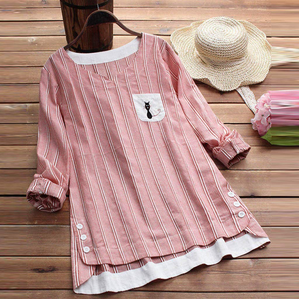 Willow S Women Fashion Casual Striped Cat Print Pocket Embroidery T-Shirt Long Sleevel Loose Tops Blouse by Willow S (Image #2)