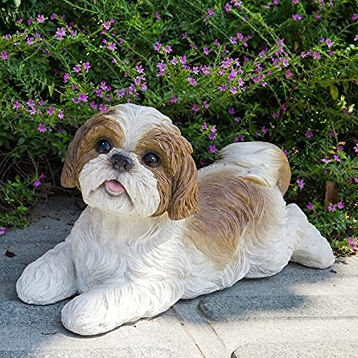 Shih Tzu Lying Down Dog Statue Decor, Memorial Dog Figurines Landscape Ornament, Table Centerpiece Gift for Dog Lovers, Fantasy Fans, Dog Decorations for Home, Patio, Lawn, Outdoors (D)