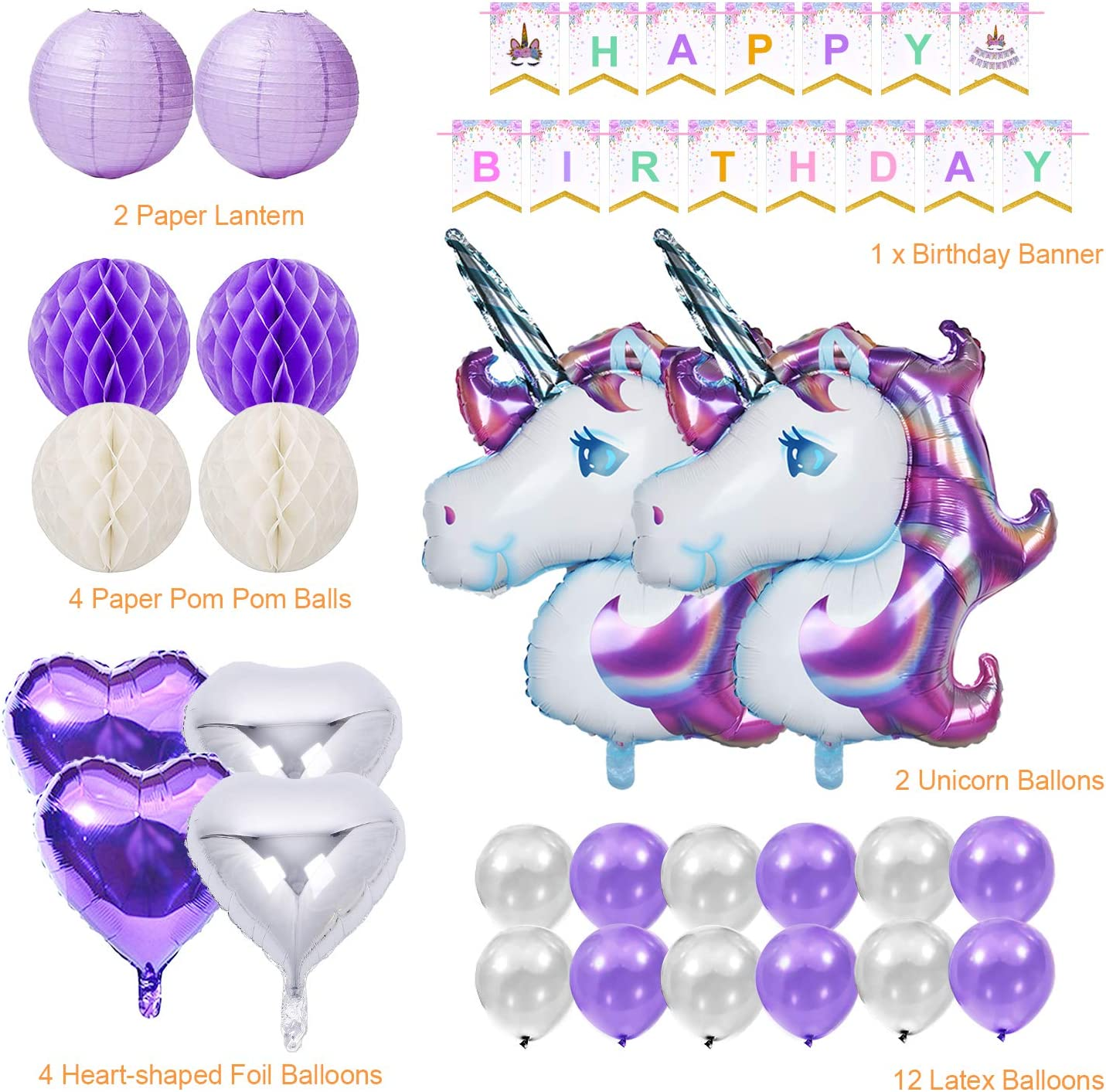 2pcs Huge Unicorn Balloon,Happy Birthday Ballon Banner,4pcs Helium Foil Star,1 Crown and 40pcs Latex Party Ballons for Infant Girl Boy Lady Birthday Party Yansion Unicorn Party Decorations Supplies