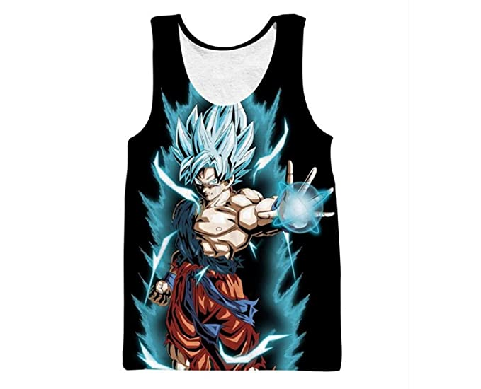 f1772b9a Image Unavailable. Image not available for. Colour: UNBrand Dragon Ball Z  Super Saiyan Goku Vegeta Sleeveless T-Shirt Tees Crewneck Vest Top