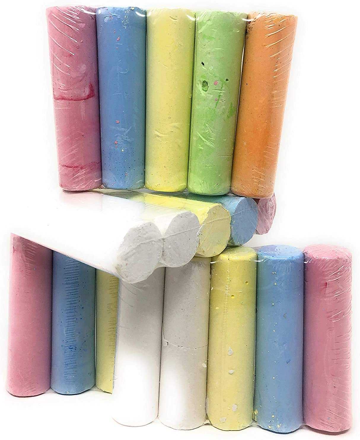 Jumbo Sidewalk Chalk Comes with 1 of Each Color Red Orange Yellow Green Blue Purple White Total of 7 Pieces of Chalk.
