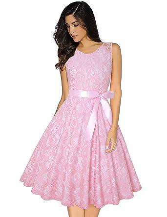 644d5aad33c MERRYA Women s Vintage V Neck Cocktail Plus Size Lace Swing Party Dresses   Amazon.co.uk  Clothing