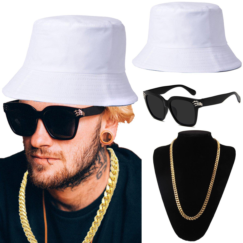 ZeroShop 80s/90s Hip-Hop Costume Kit - Cotton Bucket Hat,Gold Chain Beads,Oversized Rectangular Hip Hop Nerdy Lens Sunglasses (OneSize, White)