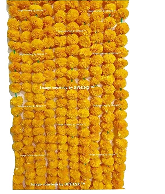 Sphinx Artificial Marigold Fluffy Flowers Garlands for Decoration - Pack of 5 (Light Orange) Artificial Flowers at amazon