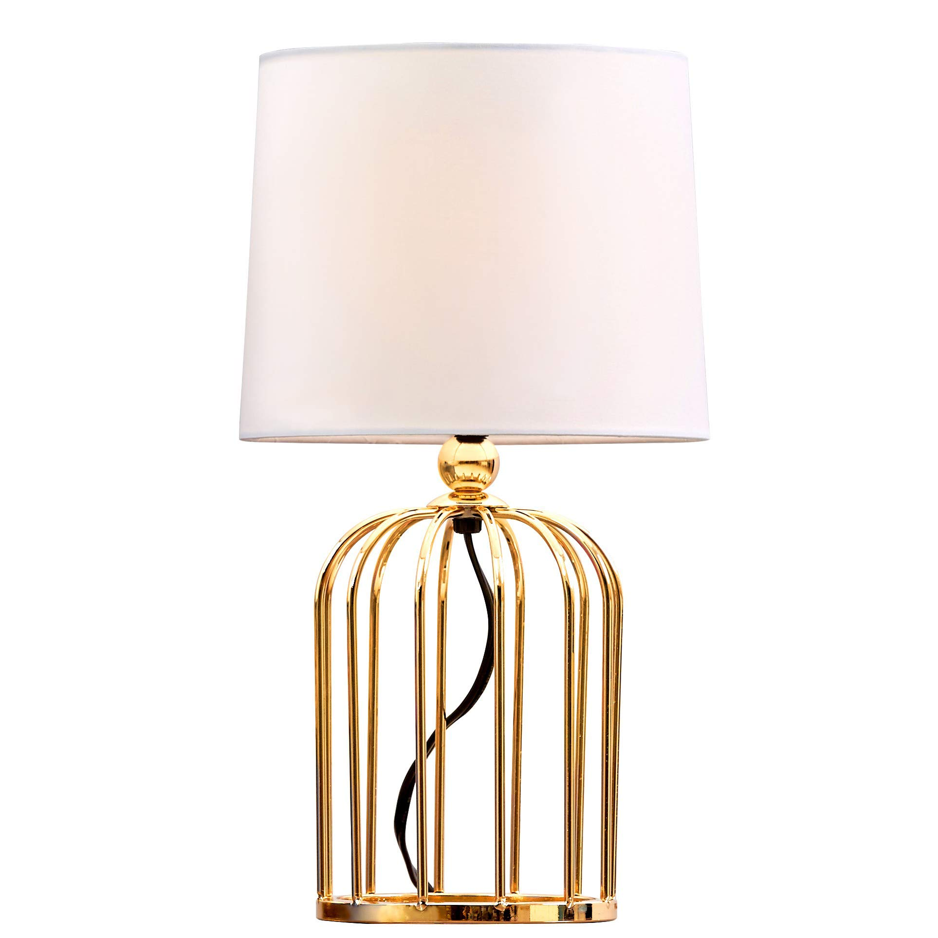 Gold Bedroom Living Room Bedside Nightsand Table Lamp, Hollow out Base with White Shade