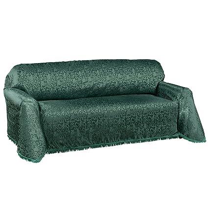 Etonnant Collections Etc Alexandria Scroll Furniture Throw Cover W/Fringe Trim, Hunter  Green, Sofa