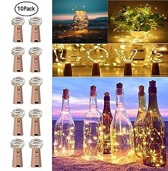 FcArt Botella de vino Lámpara Luces de cadena Corcho Alambre de ...