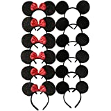 (Pack of 12) - Mickey Mouse Ears Solid Black and Bow Minnie Headband for Boys and Girls Birthday Party or Celebrations (Pack of 12)